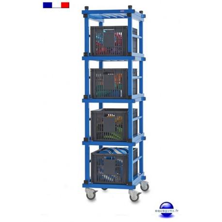 Chariot range-bacs mobile pour piscine