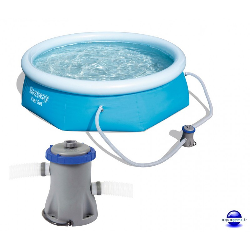 Kit piscine ronde fast set pools et pompe de filtration for Pompe de filtration piscine