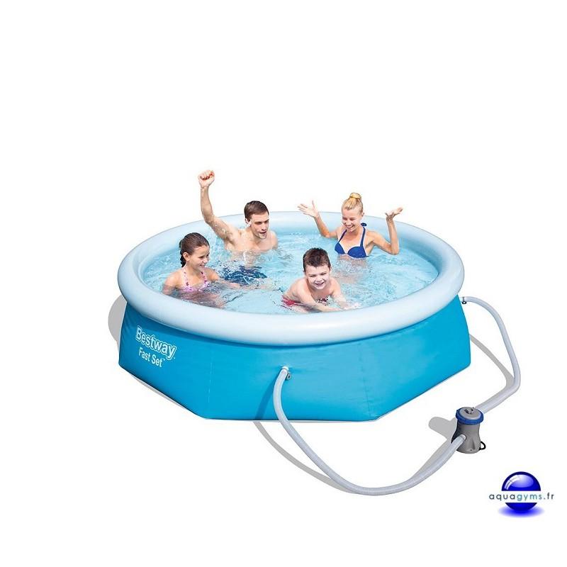 Kit piscine ronde fast set pools et pompe de filtration for Kit piscine
