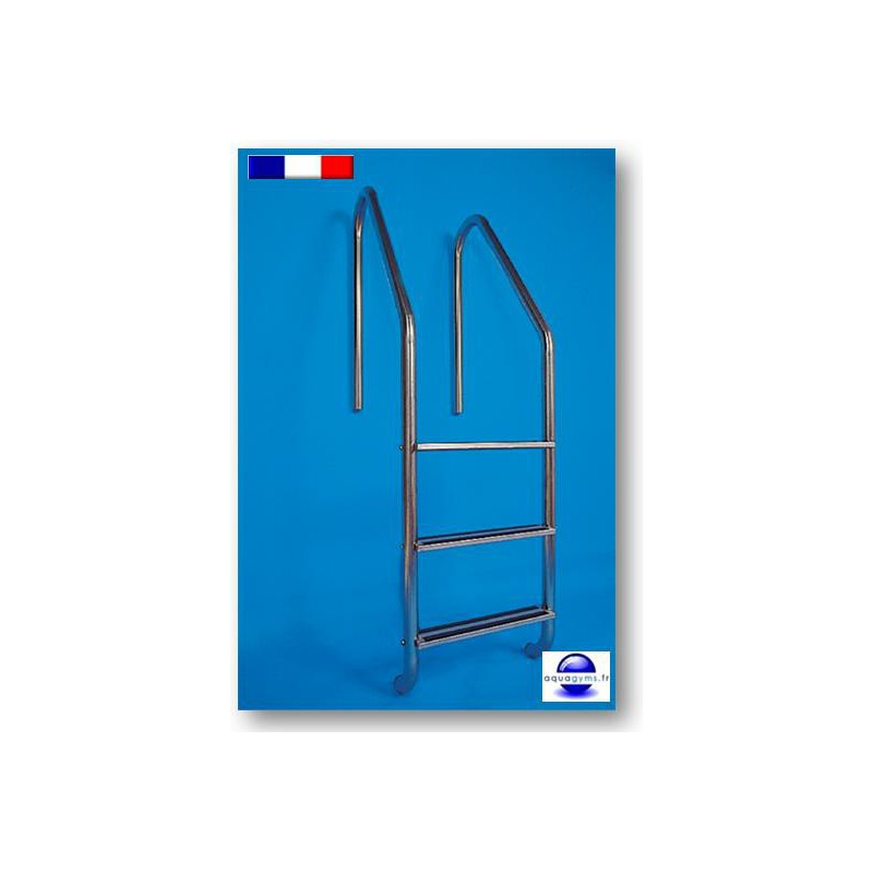 Echelle piscine 2 marches t le stri e inox for Piscine en tole rectangulaire