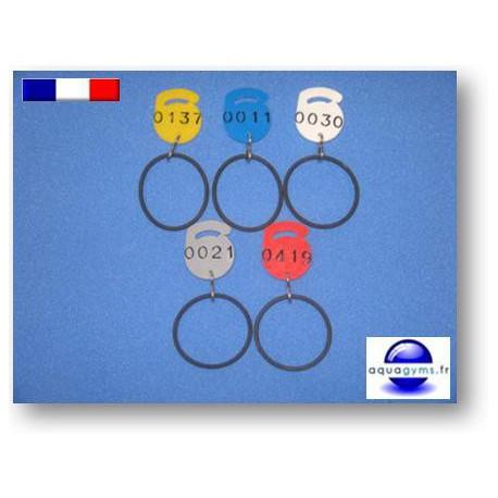 Jeton plastique numéroté avec bracelet - Par lot de 5