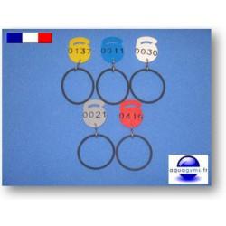 Jeton plastique numéroté dépareillé avec bracelet - Par lot de 2