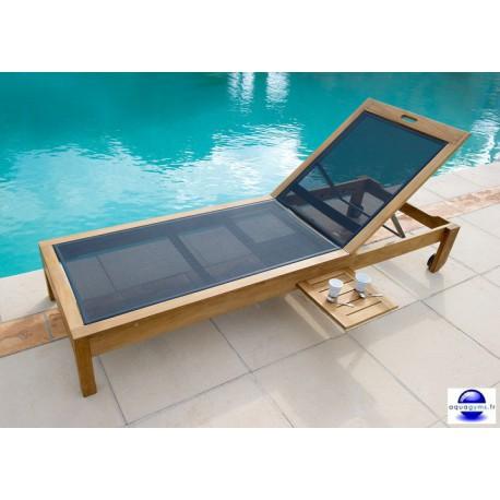 Transat piscine en teck