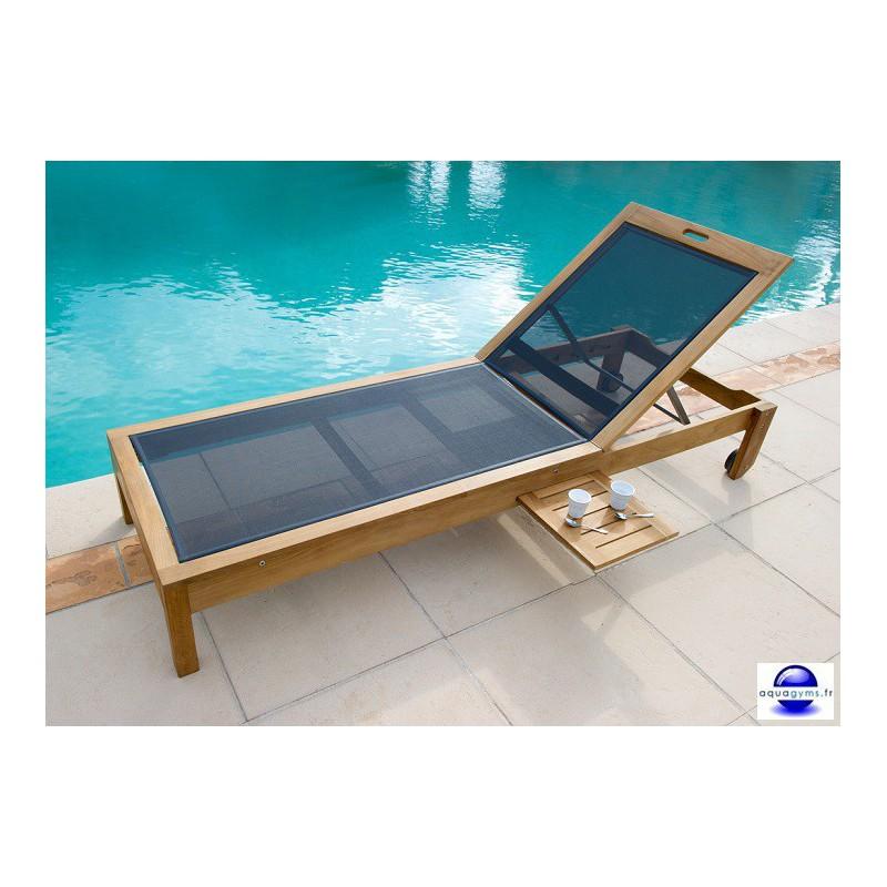 Transat piscine en teck for Chaise longue pour piscine pas cher