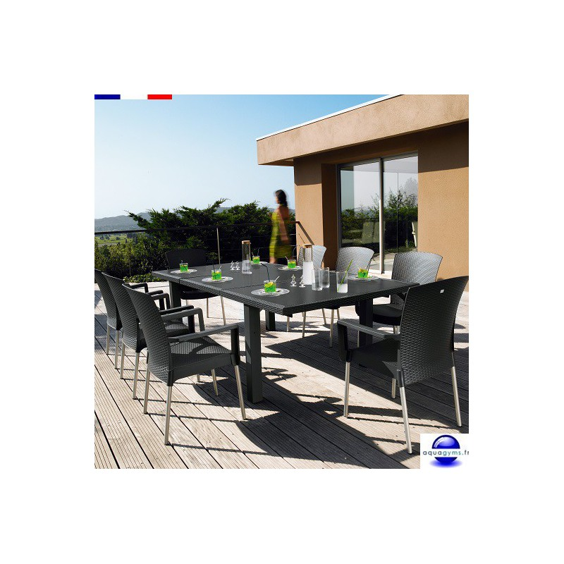 Salon de jardin en résine: 1 table de 2.40 m + 6 fauteuils - Aquagyms.fr