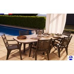 Salon de jardin en résine: 1 table de 2.20 m + 6 fauteuils