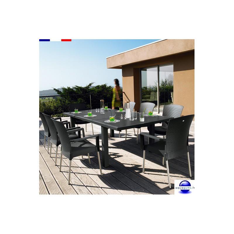 Salon de jardin en résine: 1 table de 2.40 m + 8 fauteuils ...