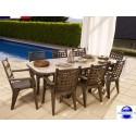 Salon de jardin en résine: 1 table de 2.20 m + 8 fauteuils